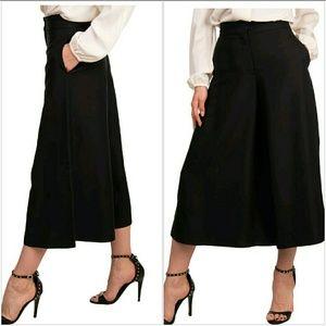 NWT Authentic Valentino Black Split Skirt Wide Leg